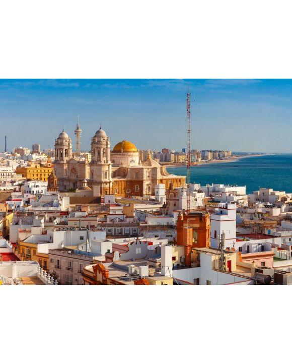 Lais Puzzle - Dächer der Altstadt und die Kathedrale de Santa Cruz am Morgen vom Turm Tavira in Cadiz, Andalusien, Spanien - 500 & 1.000 Teile