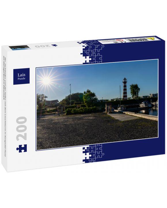 Lais Puzzle - der Jachthafen und der Hafen mit dem Leuchtturm in Kongsdal Huse am Mariagerfjord in Dänemark - 200 Teile