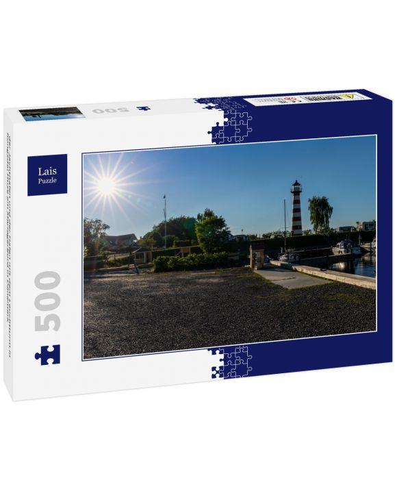 Lais Puzzle - der Jachthafen und der Hafen mit dem Leuchtturm in Kongsdal Huse am Mariagerfjord in Dänemark - 500 Teile