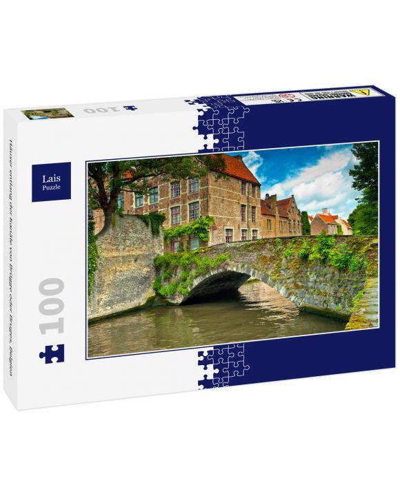 Lais Puzzle - Häuser entlang der Kanäle von Brügge oder Bruges, Belgien - 100 Teile