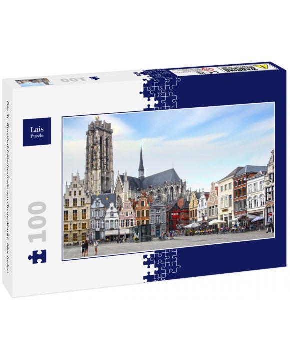 Lais Puzzle - Die St. Rumbold-Kathedrale am Grote Markt. Mechelen - 100 Teile