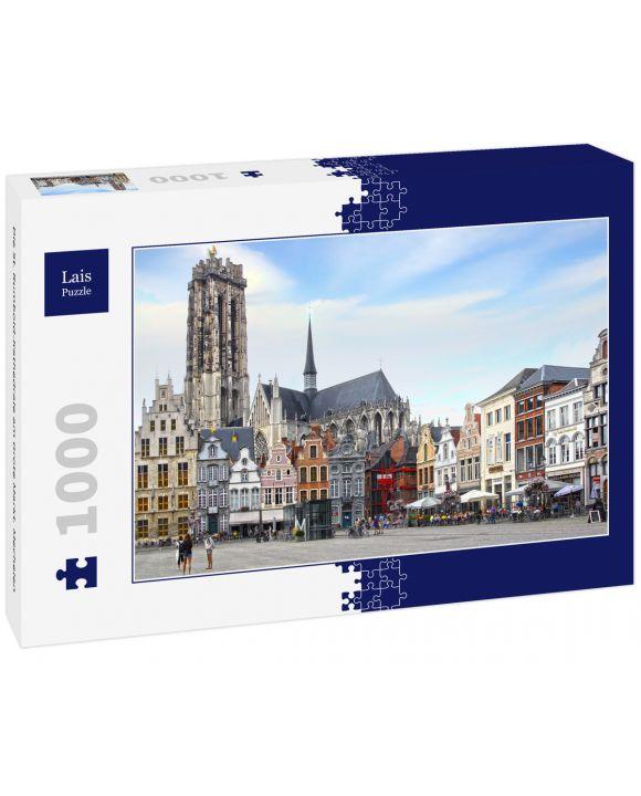 Lais Puzzle - Die St. Rumbold-Kathedrale am Grote Markt. Mechelen - 1.000 Teile