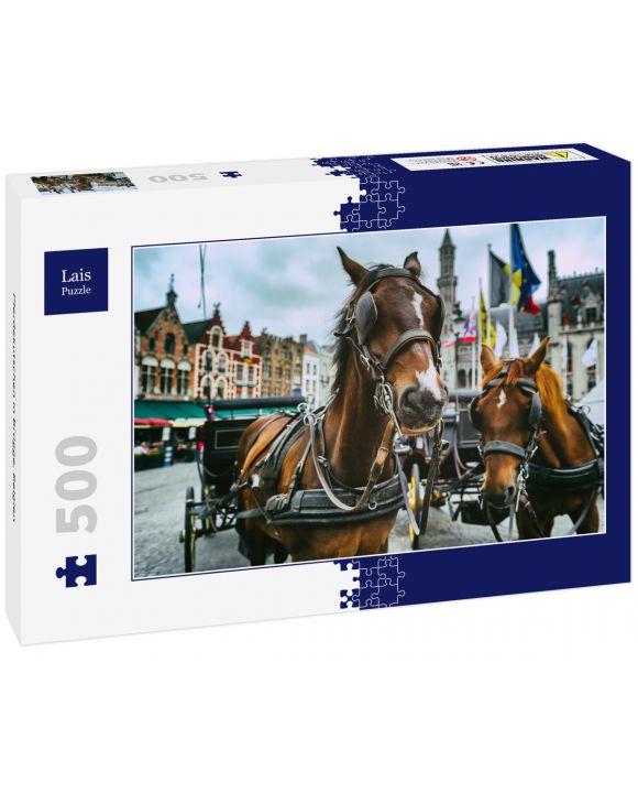 Lais Puzzle - Pferdekutschen in Brügge, Belgien - 500 Teile