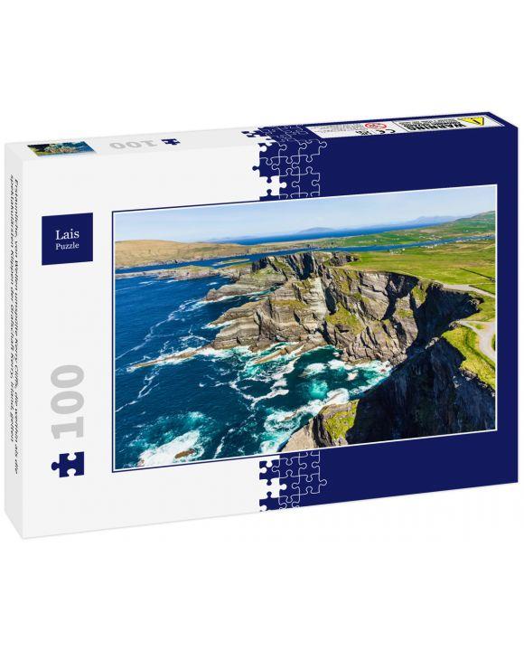 Lais Puzzle - Erstaunliche, von Wellen umspülte Kerry Cliffs, die weithin als die spektakulärsten Klippen der Grafschaft Kerry, Irland, gelten - 100 Teile