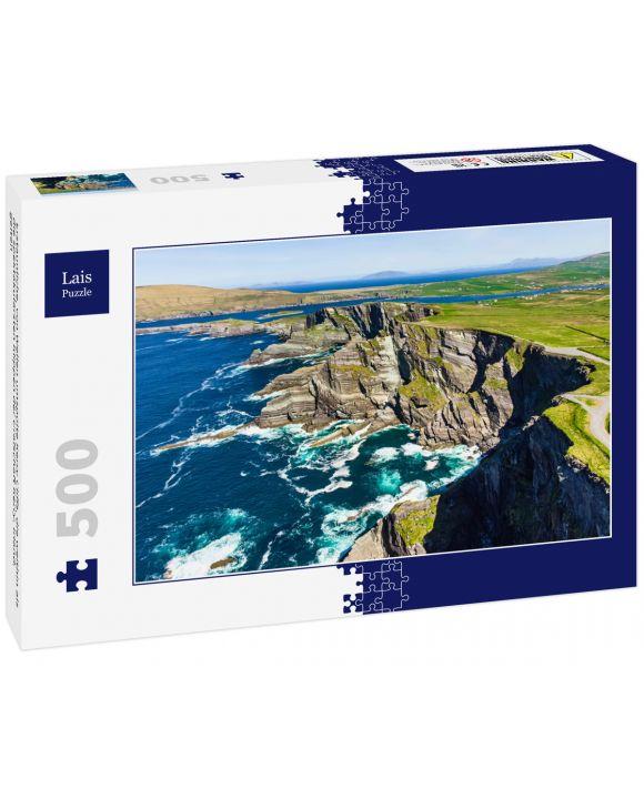 Lais Puzzle - Erstaunliche, von Wellen umspülte Kerry Cliffs, die weithin als die spektakulärsten Klippen der Grafschaft Kerry, Irland, gelten - 500 Teile
