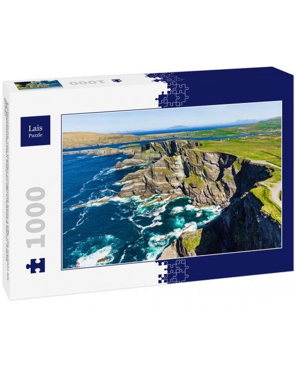 Lais Puzzle - Erstaunliche, von Wellen umspülte Kerry Cliffs, die weithin als die spektakulärsten Klippen der Grafschaft Kerry, Irland, gelten - 1.000 Teile