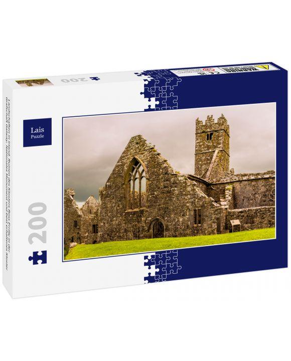 Lais Puzzle - Landschaften in Irland. Ruinen des Klosters Ross Errilly in der Grafschaft Galway. Nationales Monument und best erhaltenes Kloster - 200 Teile