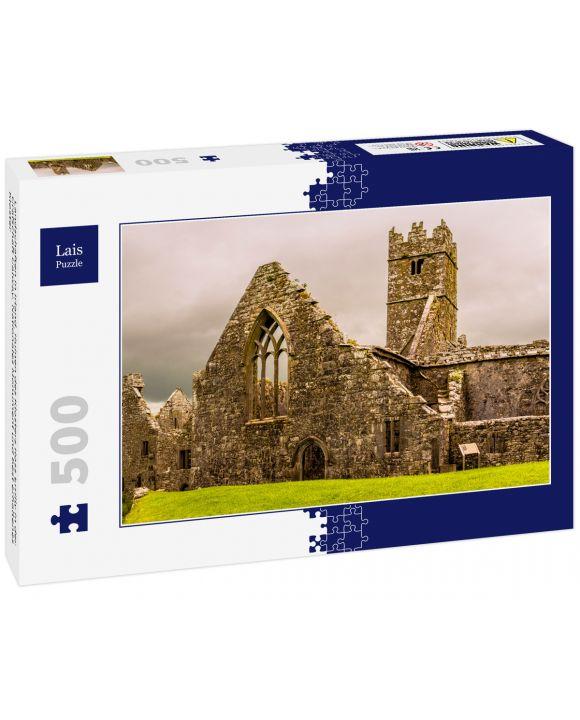 Lais Puzzle - Landschaften in Irland. Ruinen des Klosters Ross Errilly in der Grafschaft Galway. Nationales Monument und best erhaltenes Kloster - 500 Teile