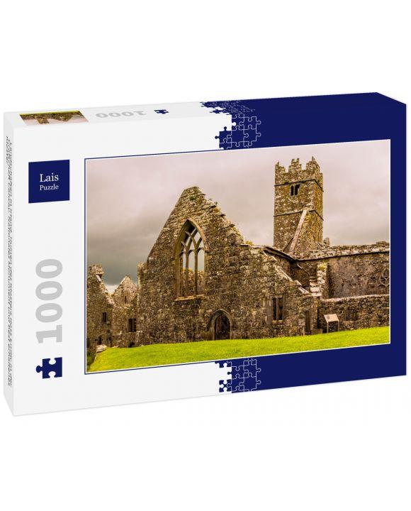Lais Puzzle - Landschaften in Irland. Ruinen des Klosters Ross Errilly in der Grafschaft Galway. Nationales Monument und best erhaltenes Kloster - 1.000 Teile