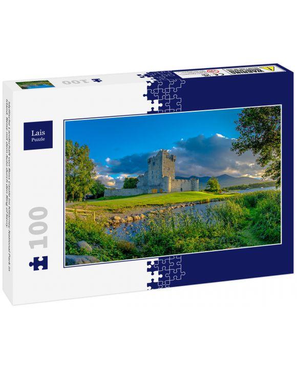 Lais Puzzle - Idyllische Landschaft von Ross Castle im Killarney National Park in Irland. Reise mit dem Auto durch den Ring of Kerry - 100 Teile