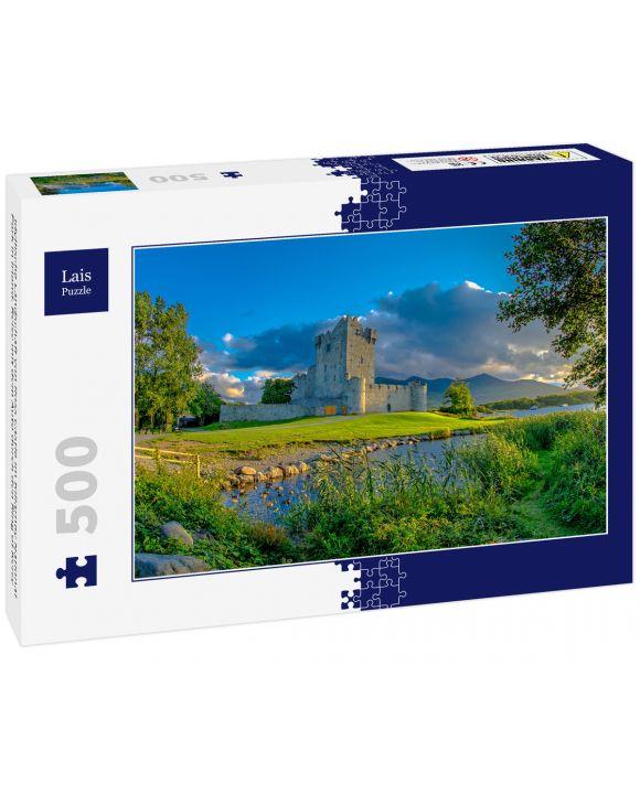 Lais Puzzle - Idyllische Landschaft von Ross Castle im Killarney National Park in Irland. Reise mit dem Auto durch den Ring of Kerry - 500 Teile