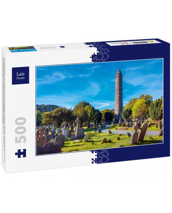 Lais Puzzle - Steinerner Rundturm und einige Ruinen einer ursprünglich im 6. Jahrhundert errichteten Klostersiedlung im Tal von Glendalough, Grafschaft Wicklow, Irland - 500 Teile