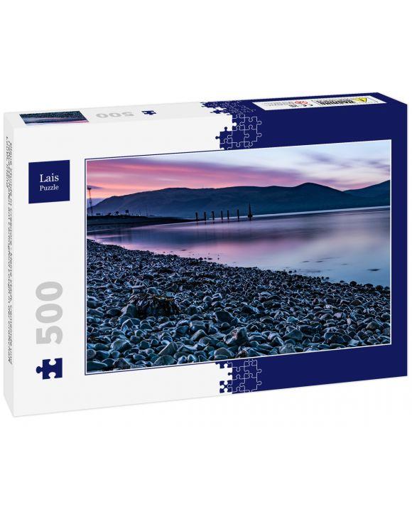 Lais Puzzle - Blaue Stunde in Greenore - kleine Stadt, Gemeinde und Tiefwasserhafen am Carlingford Lough in der Grafschaft Louth, Irland - 500 Teile