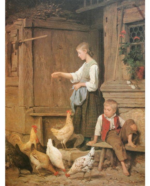 Lais Puzzle - Albert Anker - Mädchen die Hühner fütternd - 500 & 1.000 Teile